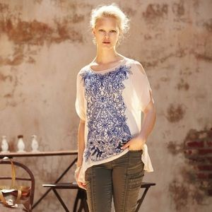 Anthropologie baraschi Embroidered top
